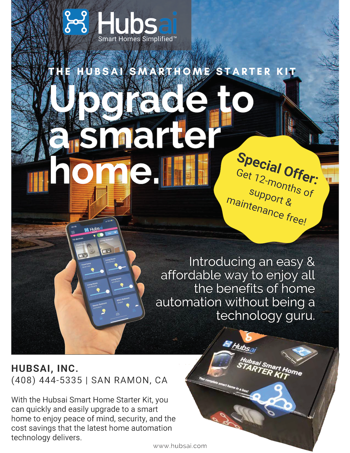 Hubsai Smart Home Starter Kit Flyer